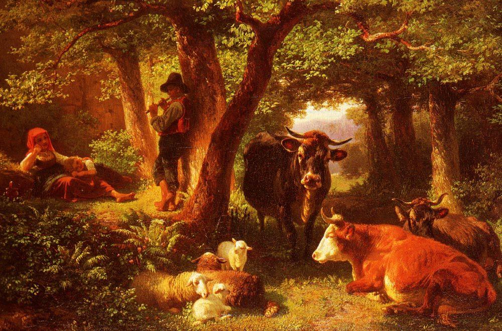 Forest scene with cows :: Friedrich Johann Voltz - Picnic фото