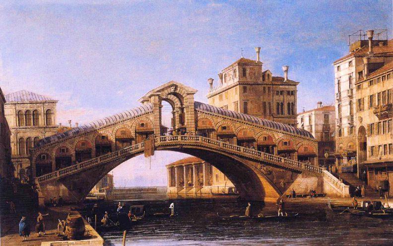 Capriccio of the Rialto Bridge with the Lagoon Beyond :: Canaletto  - Venice ôîòî