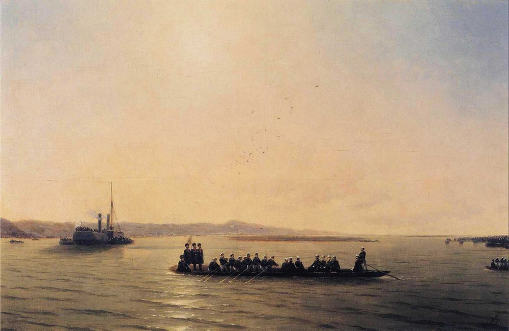 Alexander II Crossing the Danube :: Ivan Constantinovich Aivazovsky - Sea landscapes with ships фото