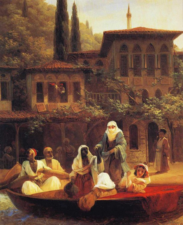 Boat Ride by Kumkapi in Constantinople :: Ivan Constantinovich Aivazovsky  - Oriental architecture фото
