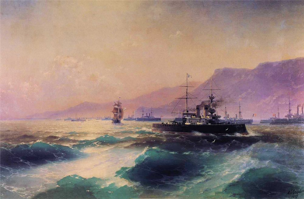 Gunboat off Crete :: Ivan Constantinovich Aivazovsky - Sea landscapes with ships фото
