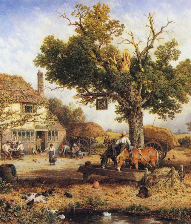 The Country Inn :: Myles Birket Foster, R.W.S.  - Summer landscapes and gardens фото