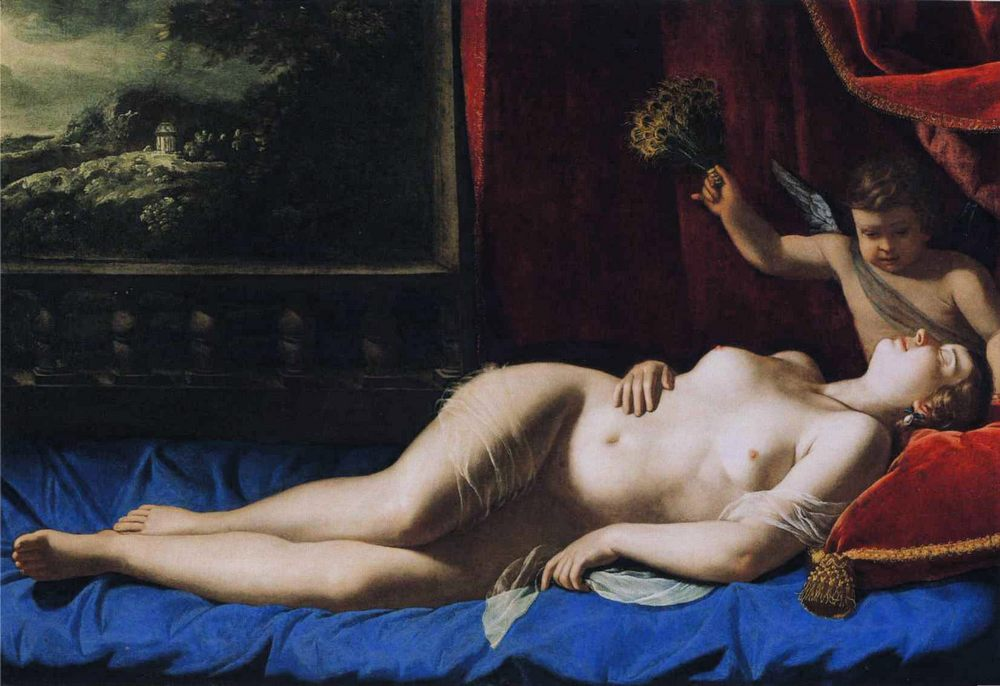 Sleeping Venus :: Artemisia Gentileschi - nu art in mythology painting фото