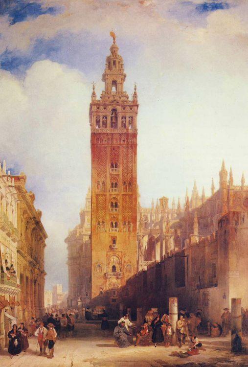 The Moorish Tower at Seville, called the Giralda :: David Roberts  - Architecture фото