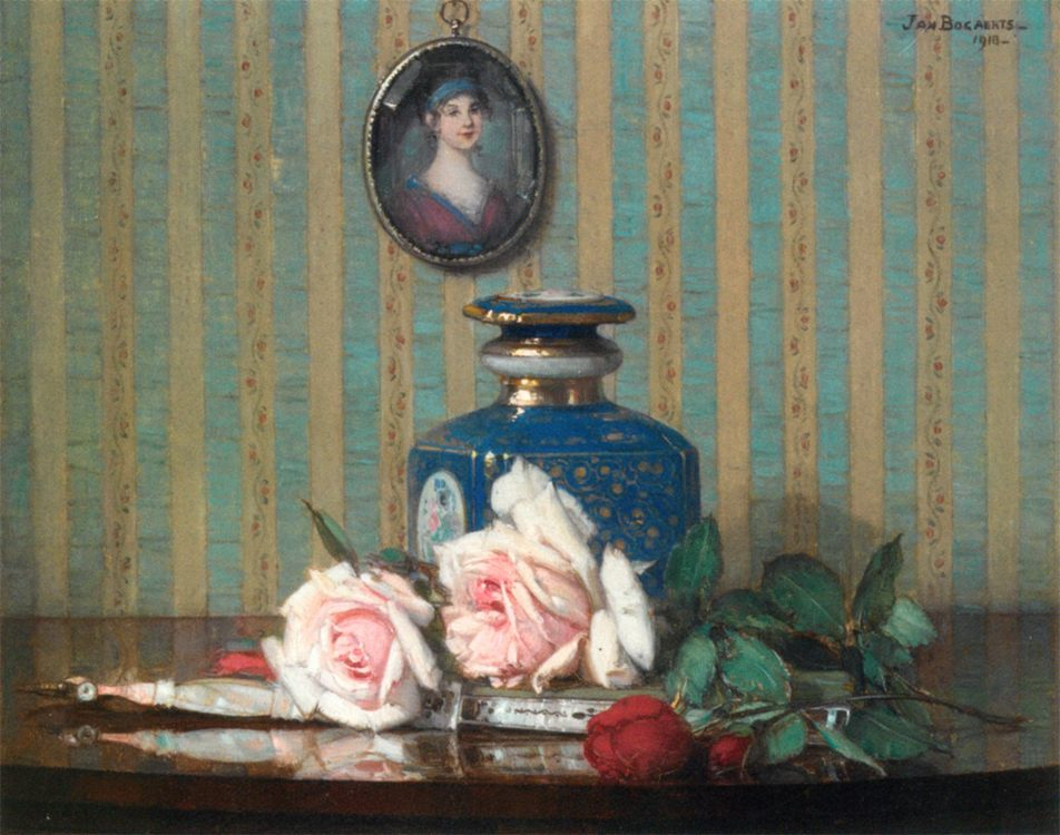 A Still Life With Roses and a Fan :: Jan Bogaerts - Still Lifes ôîòî