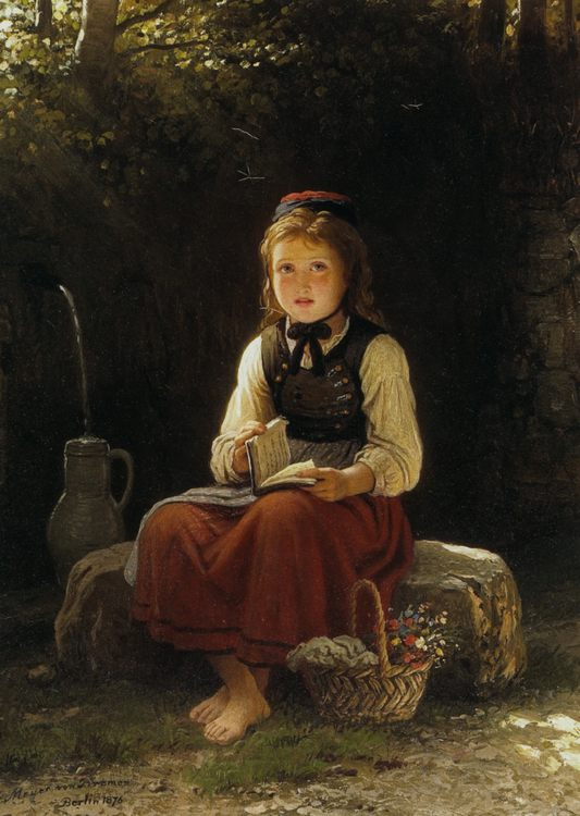 Young Girl at the Well :: Johann Georg Meyer von Bremen - Portraits of young girls in art and painting фото