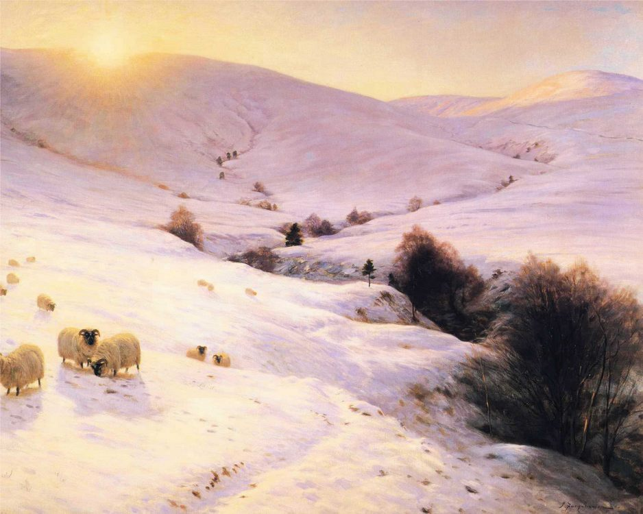 And the Sun Peeped O'er Yon Southland Hills :: Joseph Farquharson - Mountain scenery фото