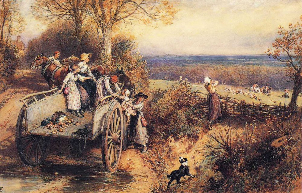 A Peep at the Hounds, Here They Come! :: Myles Birket Foster, R.W.S. - Hunting scenes ôîòî