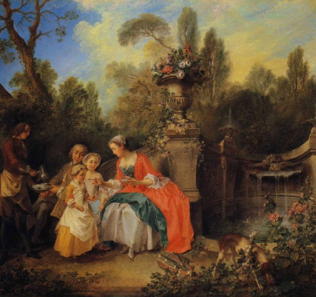 A Lady and Gentleman Taking Coffee with Children in a Garden :: Nicolas Lancret - Picnic фото