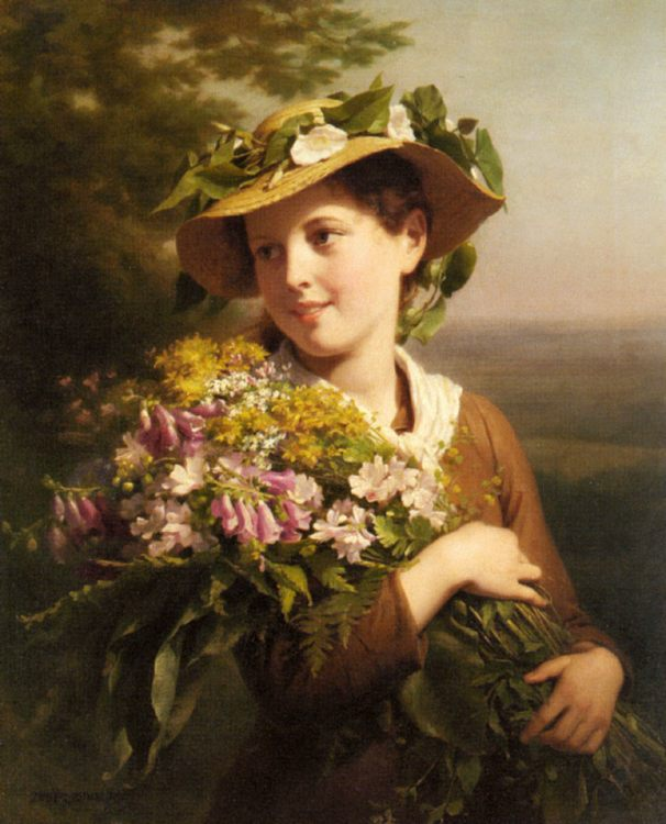 A Young Beauty holding a Bouquet of Flowers :: Fritz Zuber-Buhler - Young beauties portraits in art and painting фото