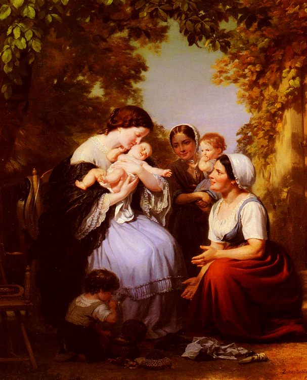 Maternity :: Fritz Zuber-Buhler - Woman and child in painting and art фото