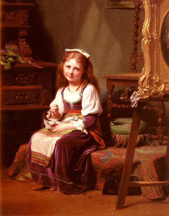 The First Cherries :: Fritz Zuber-Buhler - Portraits of young girls in art and painting фото