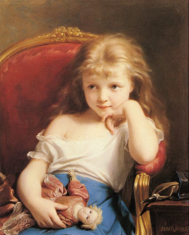 Young Girl Holding a Doll :: Fritz Zuber-Buhler - Portraits of young girls in art and painting фото