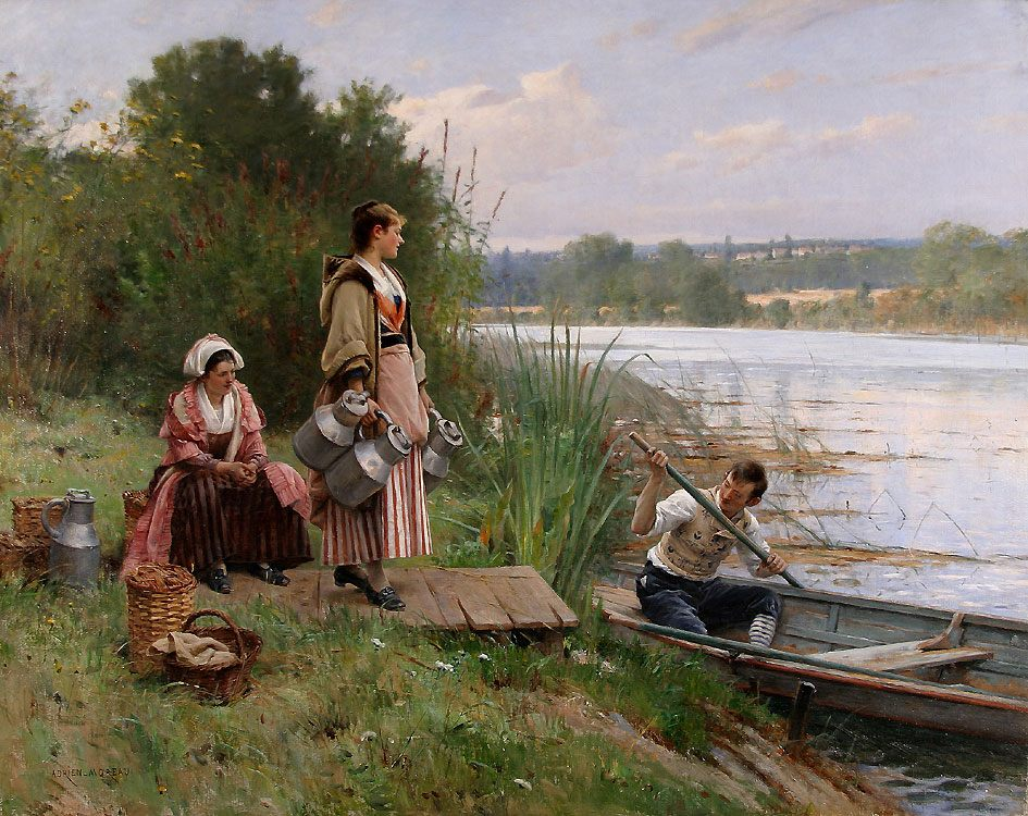 The Ferry :: Adrien Moreau - Romantic scenes in art and painting фото