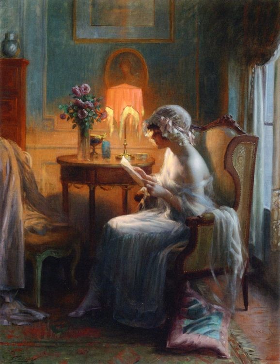 Reading a Letter :: Reading a Letter  - Romantic scenes in art and painting фото