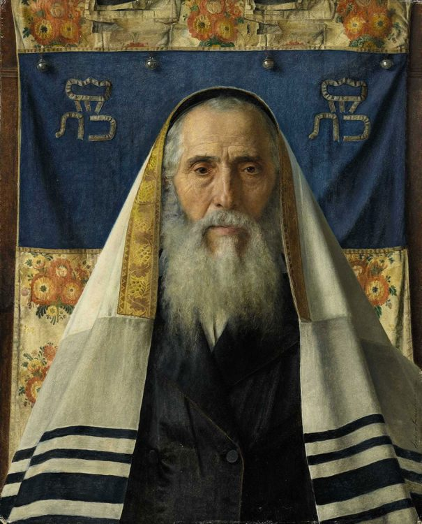 Portrait of a Rabbi with Prayer Shawl :: Isidor Kaufmann - Portraits of elderly men фото
