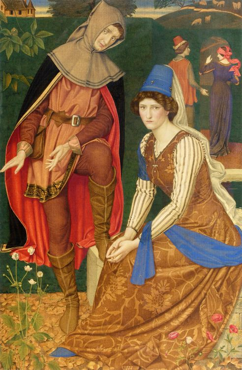 The Nut Brown :: Joseph Edward Southall  - Romantic scenes in art and painting фото