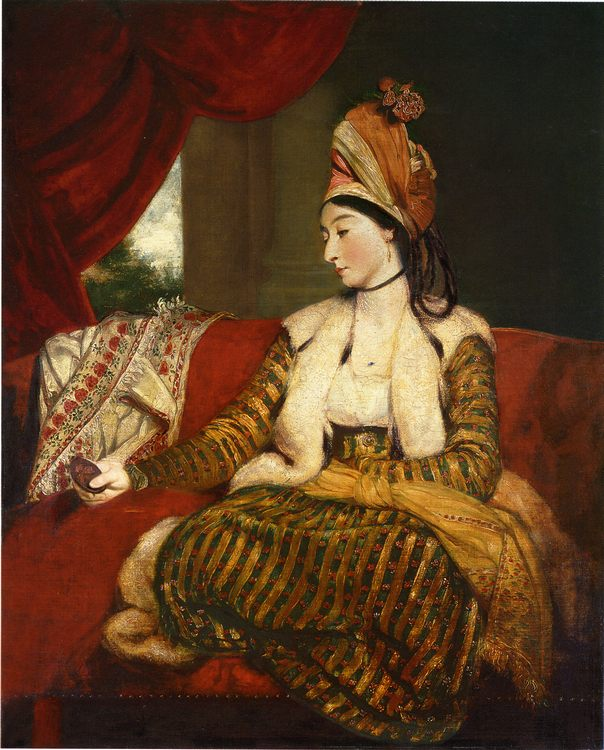 Portrait of Mrs. Baldwin, full length, seated on a red divan :: Joshua Reynolds - 4 women's portraits 18th century hall фото