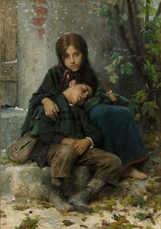 Out in the Cold :: Leon Bazile Perrault - Children's portrait in art and painting фото