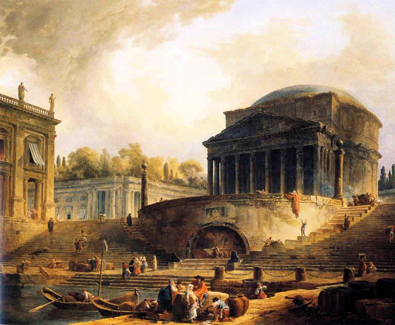 View of the Port of Ripetta, a Rome :: Hubert Robert - Italy фото