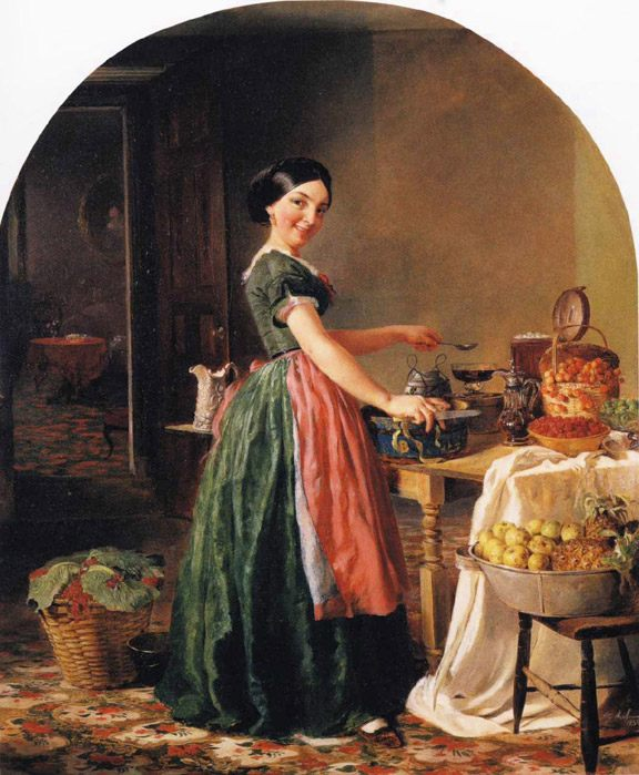 Kiss Me and You'll Kiss the 'Lasses :: Lilly Martin Spencer - Interiors in art and painting фото