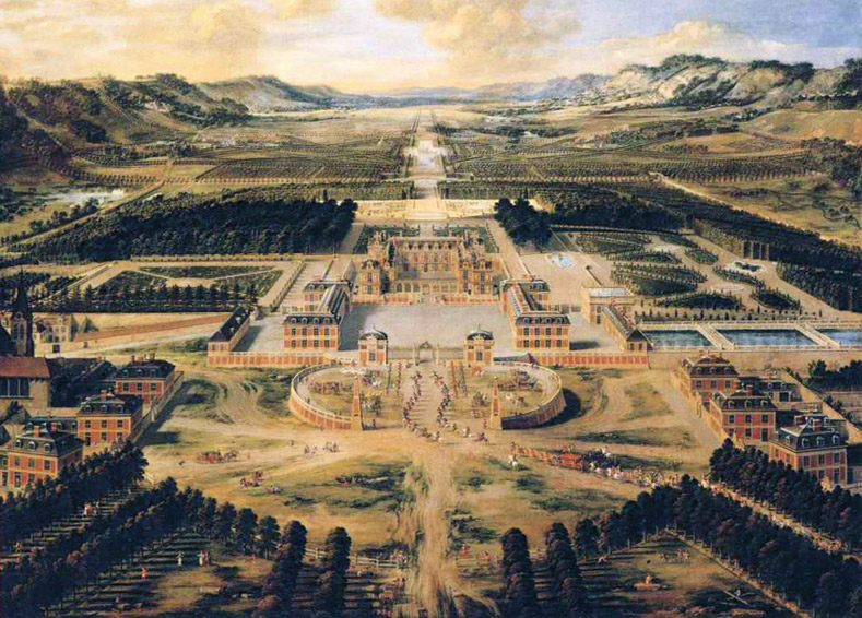 Bird's Eye View of the Chateau and Gardens of Versailles :: Pierre Patel - France фото