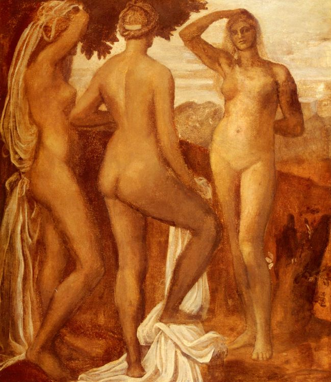 The Judgement Of Paris :: George Frederick Watts - nu art in mythology painting фото