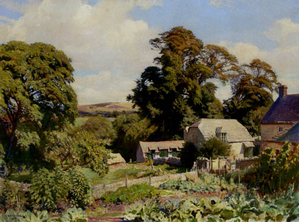 The Cottage Garden :: George Spencer Watson - Rural houses ����
