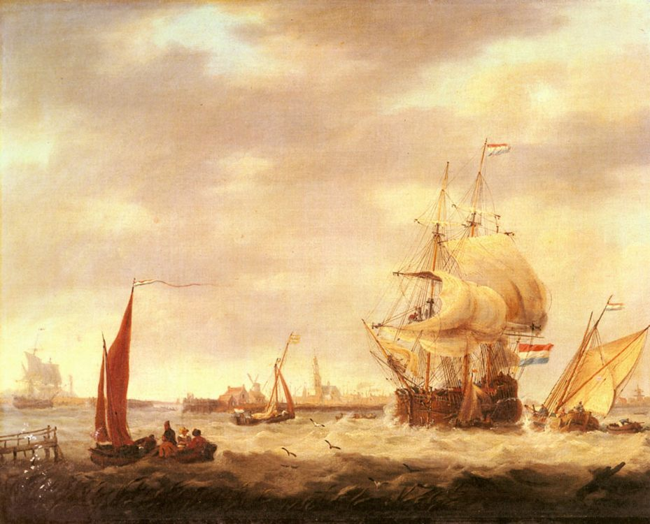 Merchant Ship and Fishing Vessels off the Dutch Coast :: George Webster - Sea landscapes with ships фото