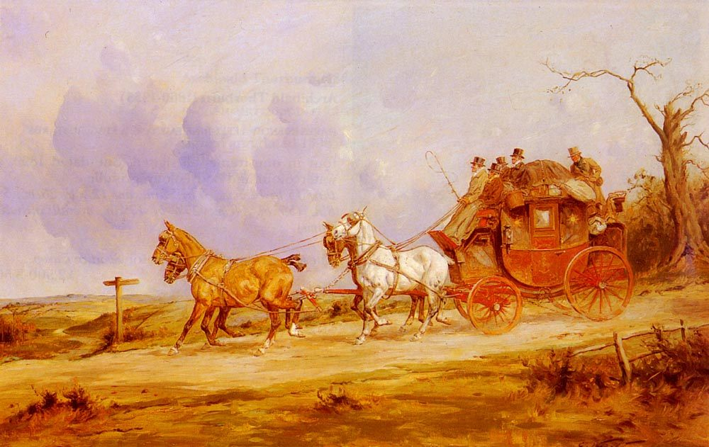 A Coach And Four On The Open Road :: George Wright - Horses in art фото