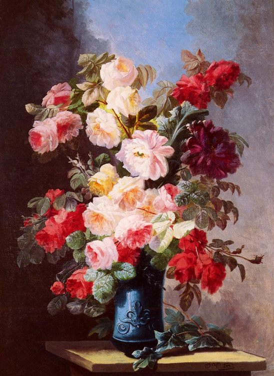 A Still Life With Roses And Peonies In A Blue Vase :: Georges Viard - flowers in painting фото