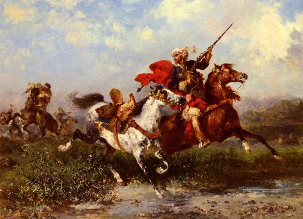 Battles of Arab horsemen :: Georges Washington - History painting фото