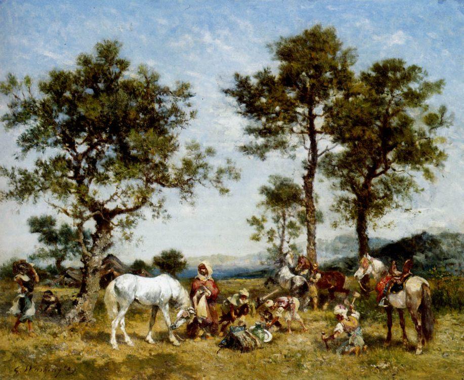Setting up camp :: Georges Washington - Horses in art фото