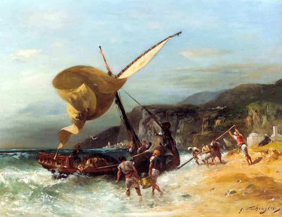 The Fishermen's Departure :: Georges Washington - Coastal landscapes ôîòî