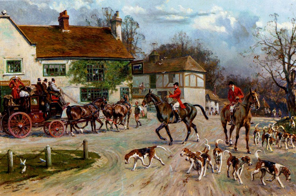 The Hunt Outside The Old Bull Inn :: Gilbert Scott Wright - Hunting scenes ôîòî