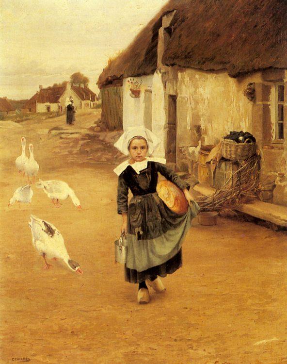 The Little Goosegirl :: Gustaf Theodor Wallen - Street and market genre scenes фото