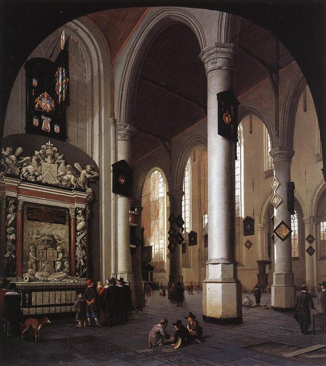 The Old Church at Delft with the Tomb of Admiral Tromp :: Hendrick van Vliet - Architecture фото