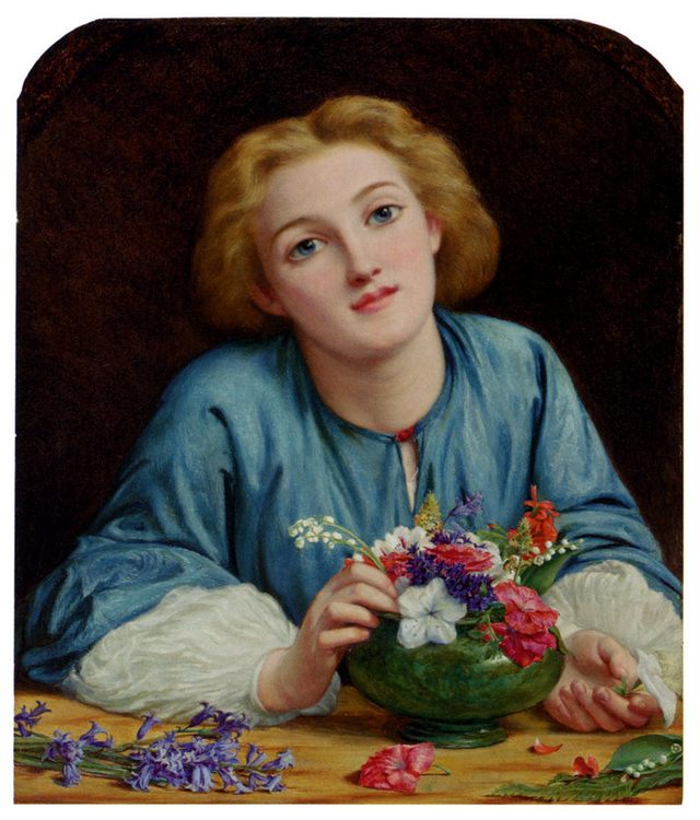 A Young Girl Arranging A Bouquet :: Henry Wallis - Young beauties portraits in art and painting ôîòî