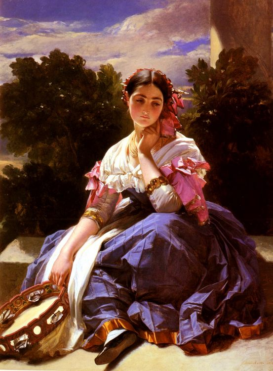 Lady in the Ariccia:: Hermann Winterhalter - Young beauties portraits in art and painting фото