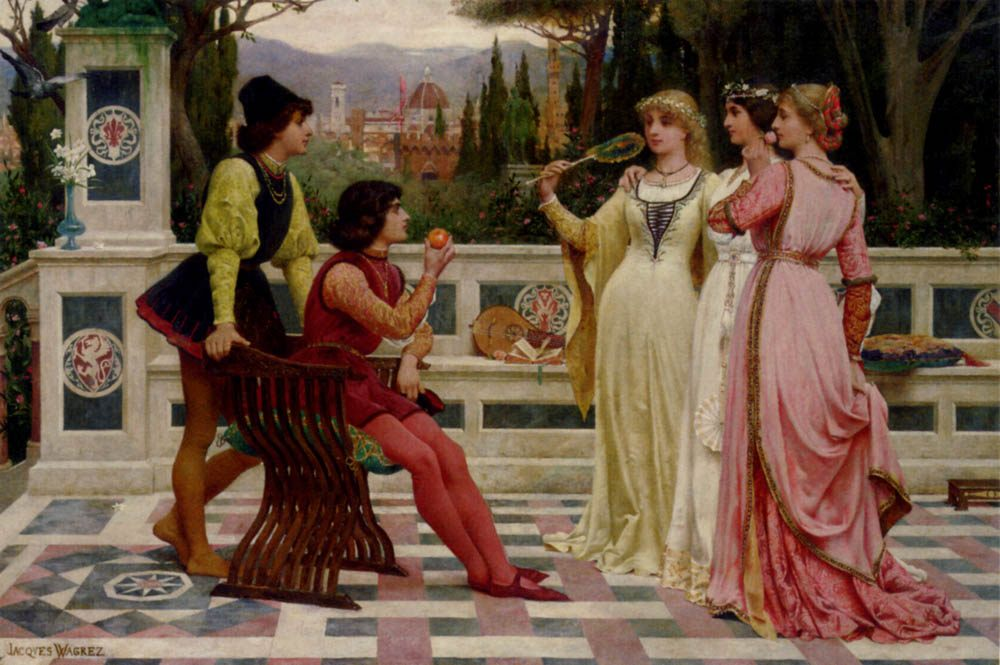 The Judgement Of Paris :: Jacques-Clement Wagrez - Romantic scenes in art and painting фото