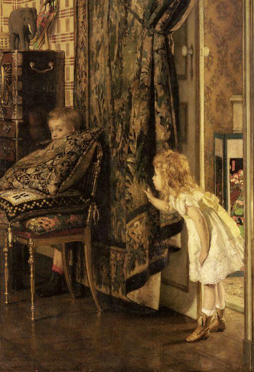 Hide and Seek :: Jan Francios Verhas - Interiors in art and painting фото