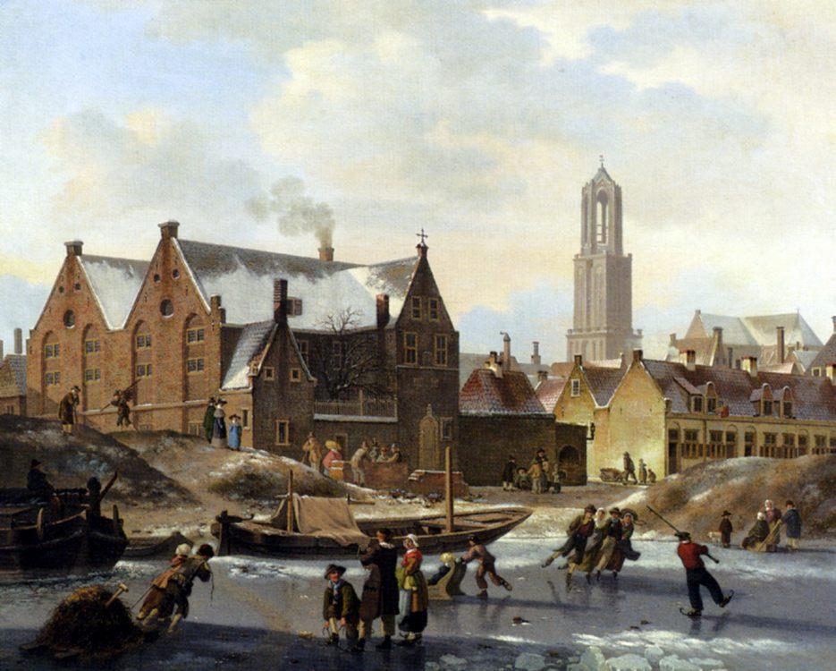 Skaters On A Frozen Canal :: Jan Hendrik Verheijen - Holland and Dutch фото