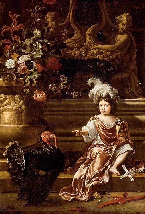 A Boy Seated On A Terrace With His Pet Monkey And a Turkey, A Still Life Of Flowers In A Sculpted Urn At Left ::Jan Weenix - Portraits of young boys фото
