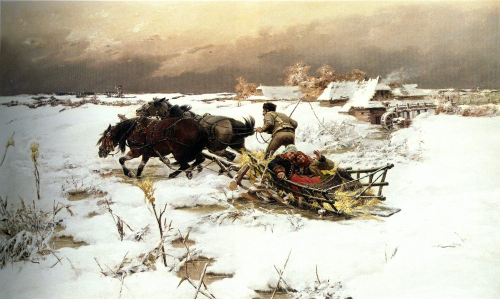 The Sledge Ride :: Jaroslav Fr. Julius Vesin - winter landscapes ôîòî