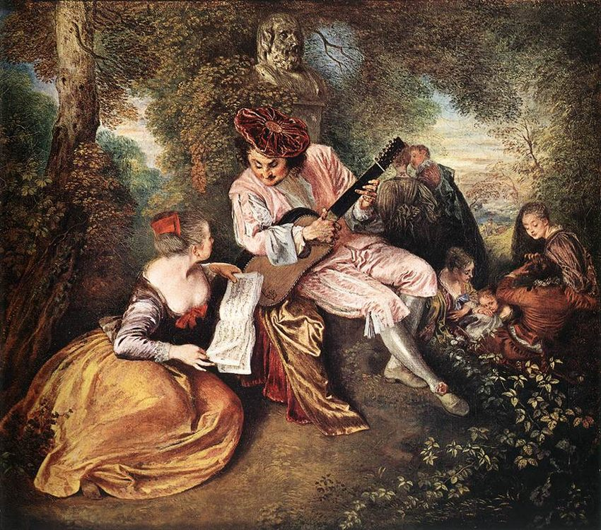 The range of love :: Jean-Antoine Watteau - Romantic scenes in art and painting ôîòî