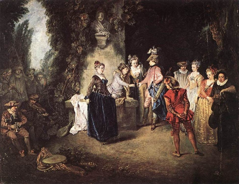 The French Comedy :: Jean-Antoine Watteau - Picnic фото