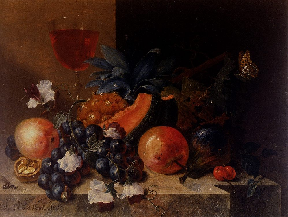 Still Life Of Fruit And Nuts With A Wine Glass All Resting On A Ledge :: Johann Amandus Wink - Still-lives with fruit фото