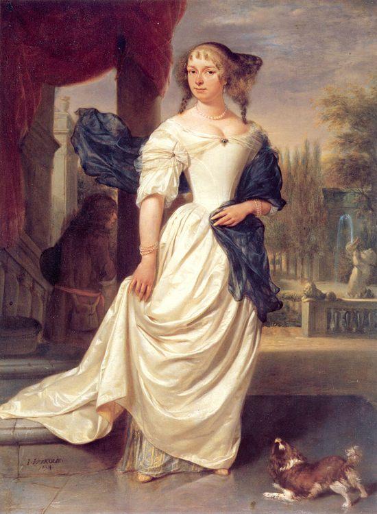 Portrait of Margaretha Delff, Wife of Johan de la Faille :: Johannes Verkolje - 3 women portraits 17th century hall фото
