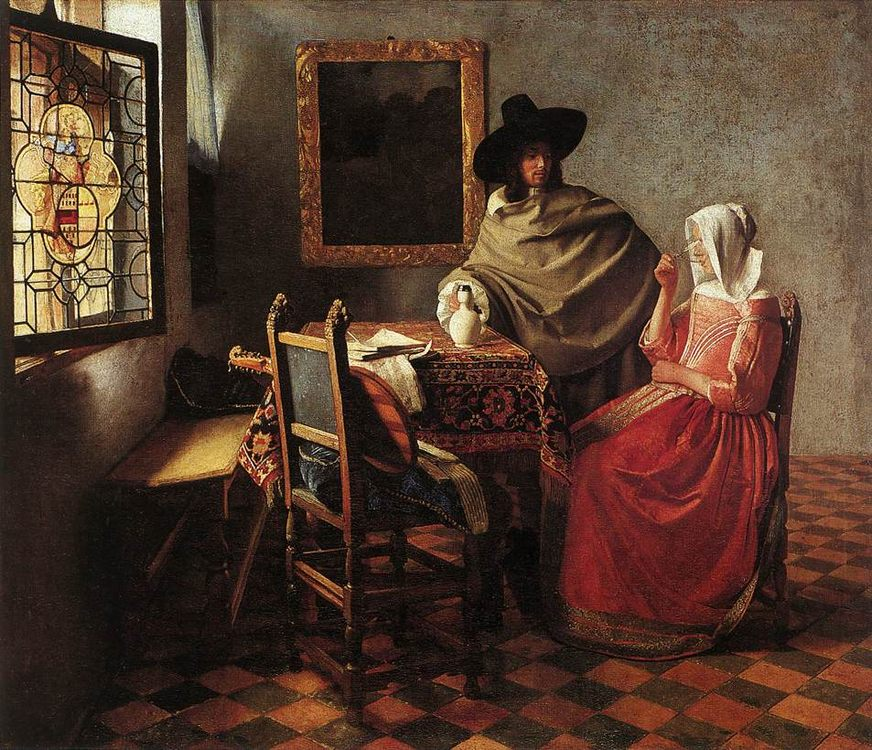 A Lady Drinking and a Gentleman :: Johannes Vermeer - Interiors in art and painting фото