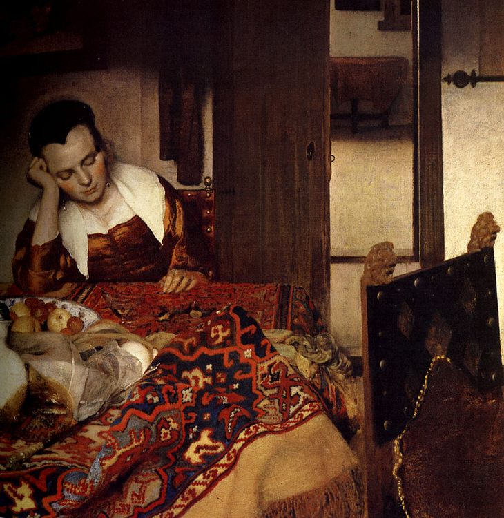 A Maid Asleep :: Johannes Vermeer - Interiors in art and painting фото
